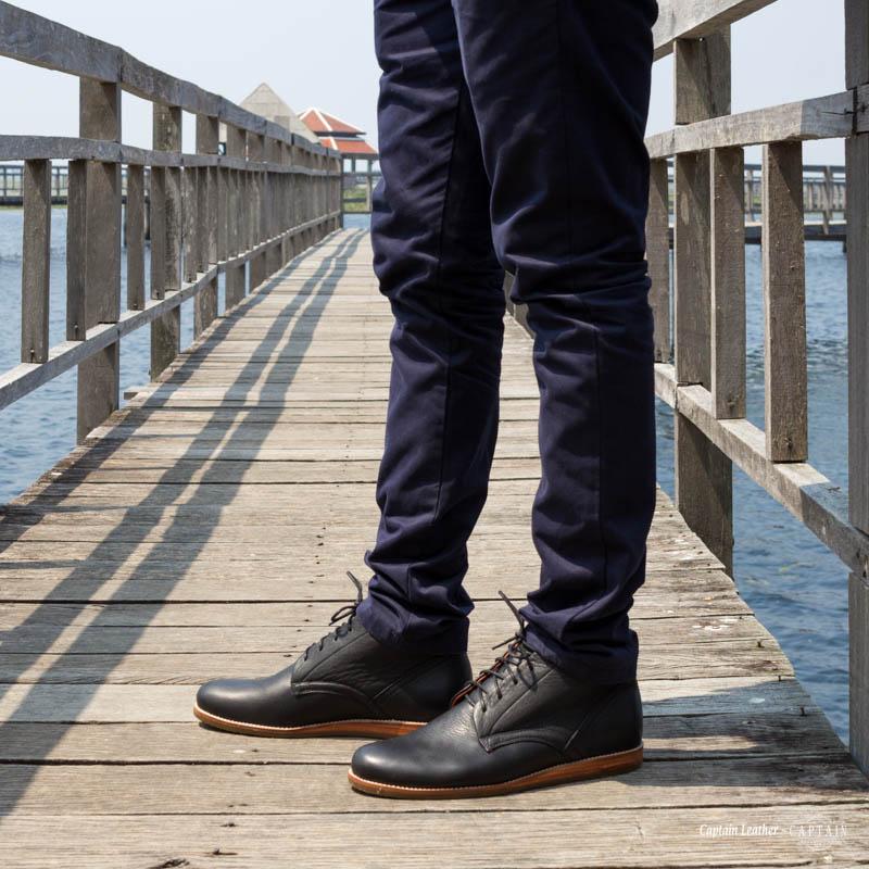 รองเท้าหุ้มข้อ รองเท้าบูทหนัง รองเท้าหนัง Chukka Boot - สี Black - CAPTAIN LEATHER