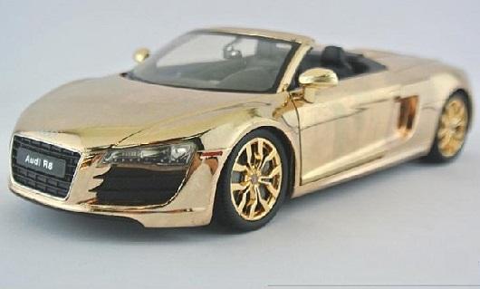 โมเดลรถเหล็ก โมเดลรถยนต์ Audi R8 ทอง 1