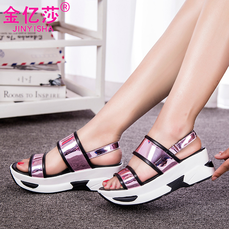 รองเท้าผู้หญิงแฟชั่น Pison cake slope with heavy-bottomed sandals women sandals