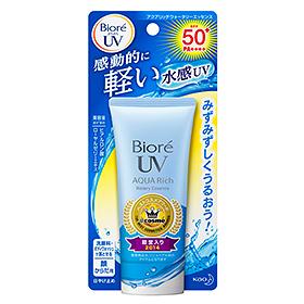 Biore UV AQUA Rich Watery Essence SPF 50+/PA+++50g กันแดดสูตรน้ำในรูปแบบเอสเซนต์เนื้อบางเบาไม่เหนอะหนะ สามารถทาทับเมคอัพระหว่างวันได้โดยที่เมคอัพไม่ลบเลือน