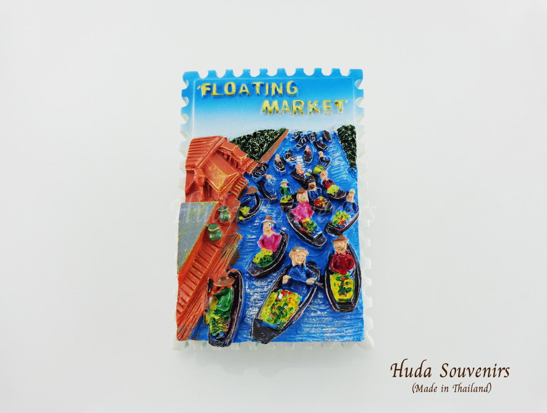 แม่เหล็กติดตู้เย็น ลวดลายตลาดน้ำไทย Floating Market ลายแนวตั้ง รูปทรงสีเหลี่ยมผืนผ้า