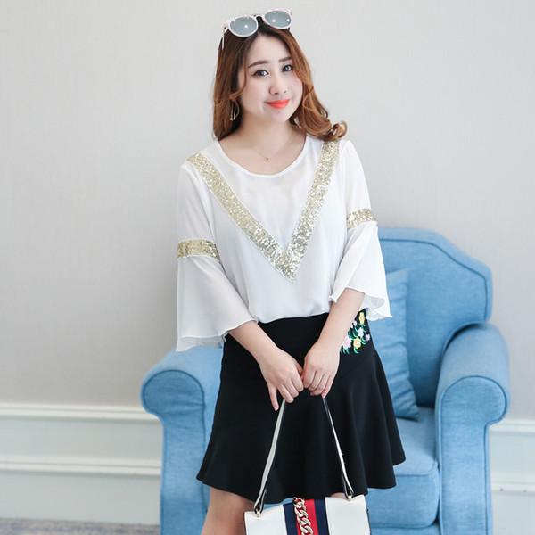 เสื้อชีฟองสีขาวไซส์ใหญ่ (XL,2XL,3XL,4XL) ZX-6309