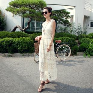 """""""พร้อมส่ง""""เสื้อผ้าแฟชั่นสไตล์เกาหลีราคาถูก Brand God is girl เดรสตัวยาว แขนกุด ผ้าลูกไม้สีขาว มีซับใน เอวจั๊ม"""