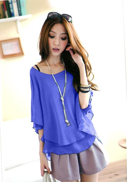 เสื้อชีฟอง คอกลมกว้าง ระบายชายเสื้อซ้อนสองชั้น สวยๆ สีน้ำเงิน สวมใส่สบาย