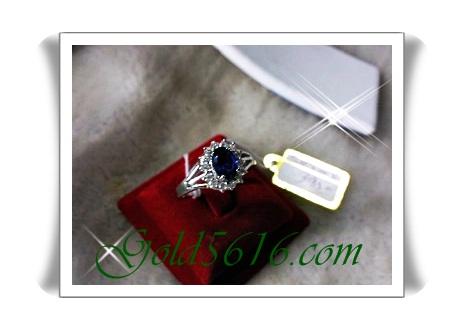 แหวนพลอยล้อมเพชร Gold plated 2Microns and Pattinum