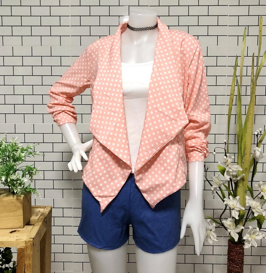 ส่ง:ชุด2ชิ้น/เสื้อคลุมปกปีกแบบน่ารักอก38+กางเกงยีนส์เอวยืด20-32