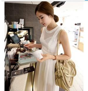 """""""พร้อมส่ง""""เสื้อผ้าแฟชั่นสไตล์เกาหลีราคาถูก Brand Vivi Party set2 ชิ้น Chiffon Slim Dress เดรสยาวผ้าชีฟองสีขาวแขนกุด มีสายผูกที่เอว ซิบด้านหลังลำตัว +ซับในผ้าไหม สายเดี่ยวตัวยาว สายปรับความยาวได้"""