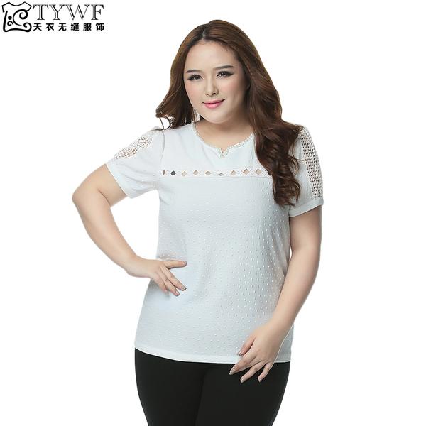 เสื้อยืดสีขาวปักฉลุติดไข่มุก แขนตุ๊กตา (XL,2XL,3XL,4XL,5XL,6XL)