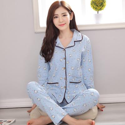 ชุดนอนผ้าฝ้ายสีฟ้าลายการ์ตูน เสื้อเชิ้ตติดกระดุมแขนยาว+กางเกงขายาว เอวยืด (XL,2XL,3XL) ON-6889