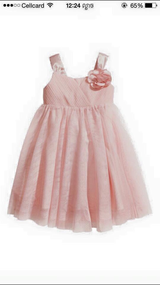 "size 10-12""พร้อมส่ง""เสื้อผ้าเด็กราคาถูก เดรสออกงานสีชมพู H&M -size 10-12"