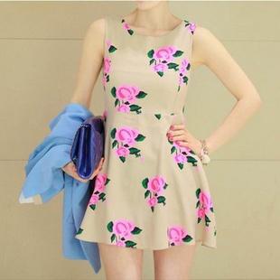 """""""พร้อมส่ง""""เสื้อผ้าแฟชั่นสไตล์เกาหลีราคาถูก Brand Cherry KOKO เดรสแขนกุดสีครีมลายดอกสีชมพู ซิปหลัง กระโปรงบานๆ ไม่มีซับใน -size M"""