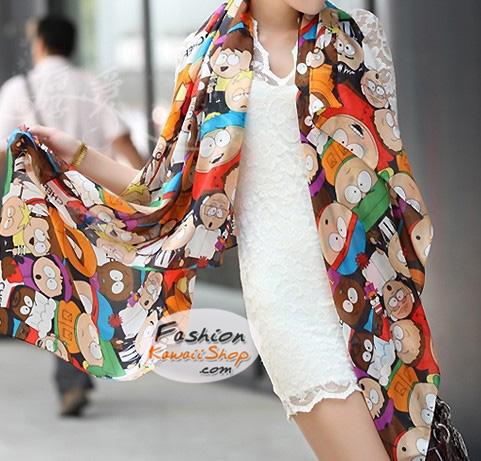 ผ้าพันคอแฟชั่นน่ารัก ลายการ์ตูน Cartoon CK0416
