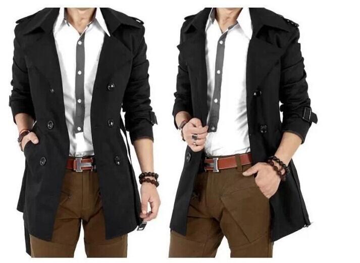 เสื้อโค้ท trench coat เทรนช์โค้ทผู้ชาย สีดำ กระดุมหน้า แขนยาว ทรงตรง กระเป๋าข้างใช้งานได้ มาพร้อมเข็มขัดเข้าชุด งานเรียบหรูมากๆ