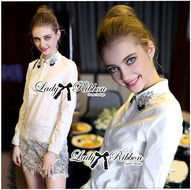 Lady Ribbon's Made Lady Chloe Insert Lace Embellished White Shirt Dress