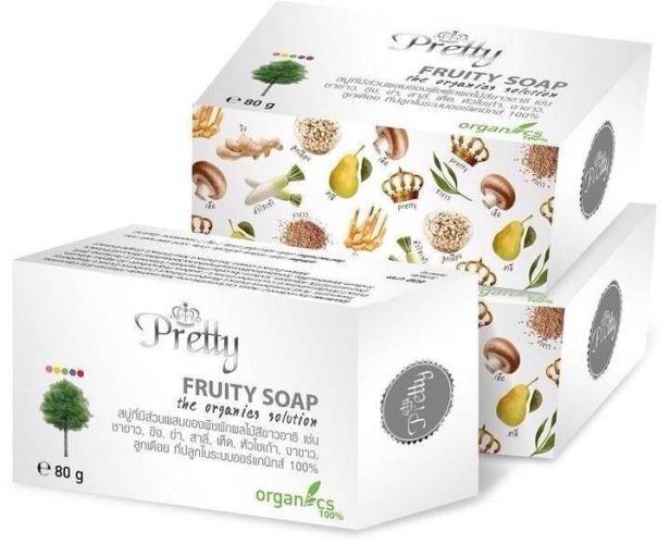 สบู่ Pretty Fruity White Soap สบู่หน้าใส จากพืชผักผลไม้สีขาว ของพริตตี้