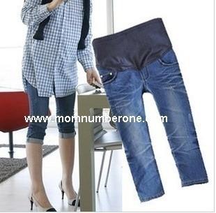 กางเกงคลุมท้อง ยีนส์ขาสี่ส่วน size XL