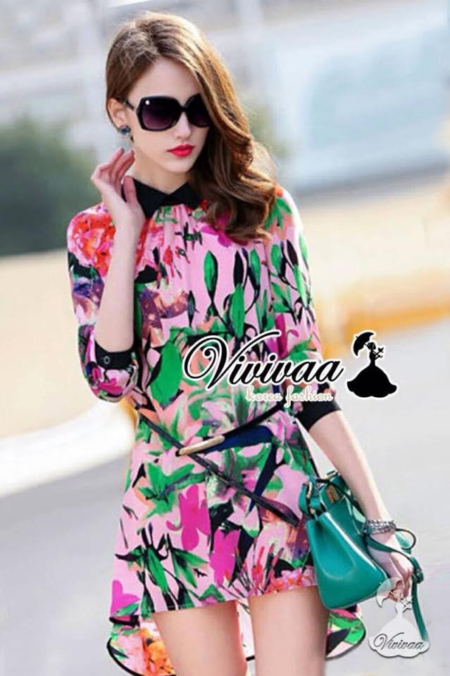 เสื้อผ้าเกาหลี พร้อมส่งFashionista pink flora set
