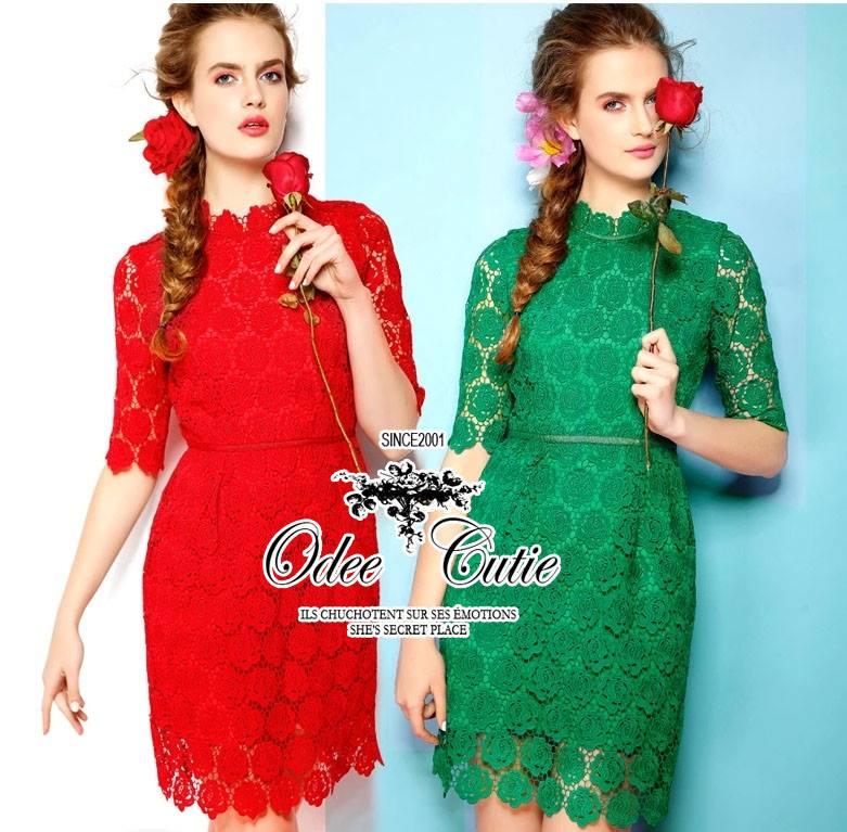 ( พร้อมส่งเสื้อผ้าเกาหลี) เดรสลูกไม้เซาะลวดลายกุหลาบ ใช้ผ้าลูกไม้เยอะค่ะ ทรงแขนยาวสามส่วนหรูหรา มีซับในโทนสีเดียวกันในตัว