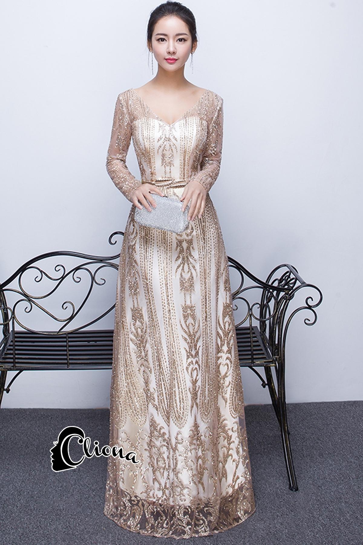 ชุดเดรสเกาหลี พร้อมส่งMorgan Luxury Golden Dress