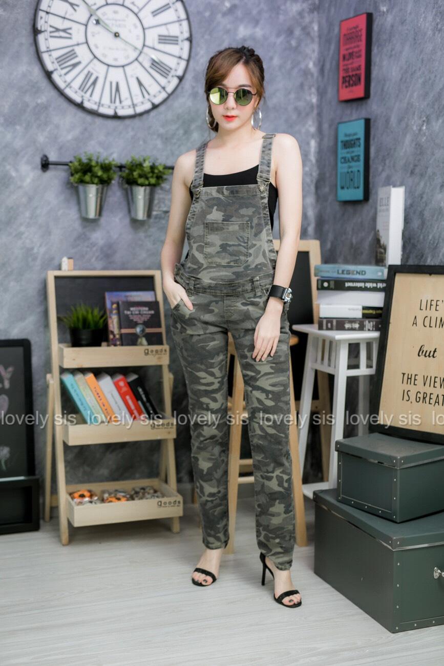 เสื้อผ้าแฟชั่นพร้อมส่ง เอี้ยมขายาวลายทหาร