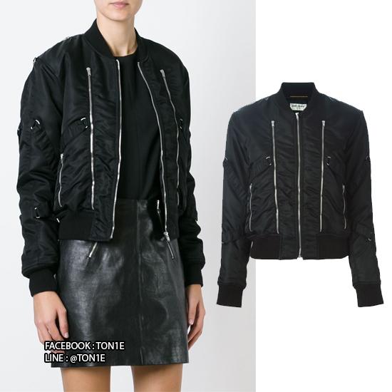 เสื้อแจ็ตเก็ตSaint Laurent Zip Bomber Jacket
