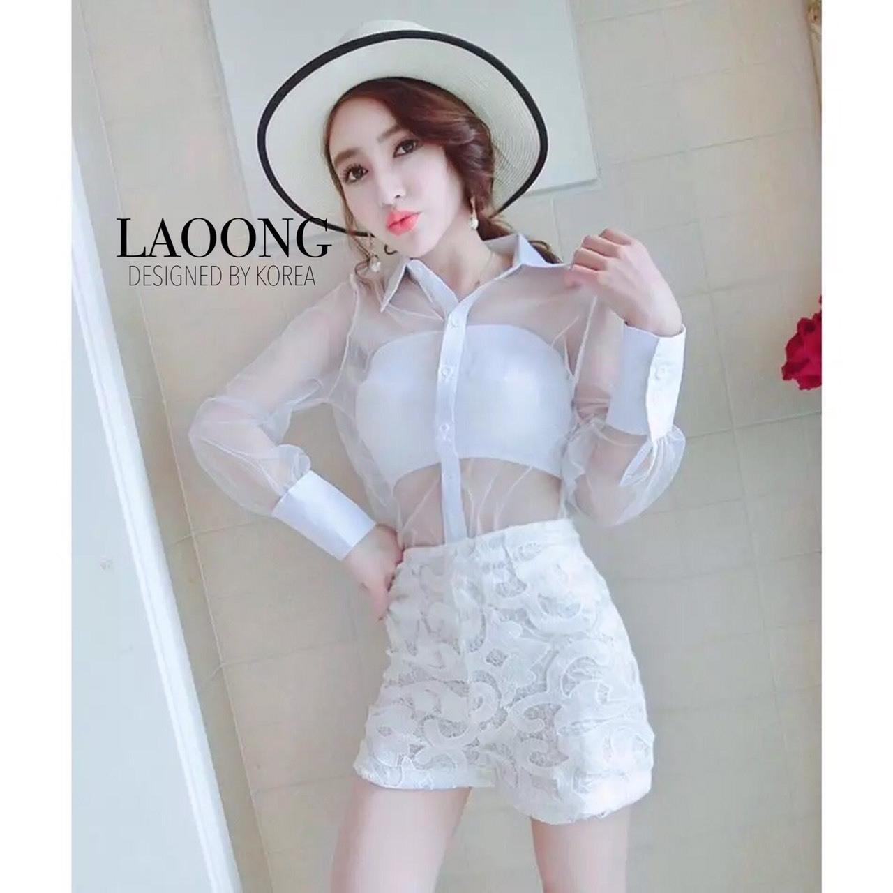 เสื้อผ้าแฟชั่นเกาหลีพร้อมส่ง Set3ชิ้นสีขาว