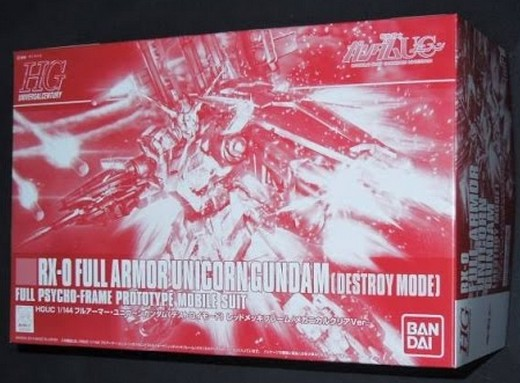 HGUC 1/144 Full Armor Unicorn Gundam [Destroy Mode] Red-Plated Frame / Mechanical Clear