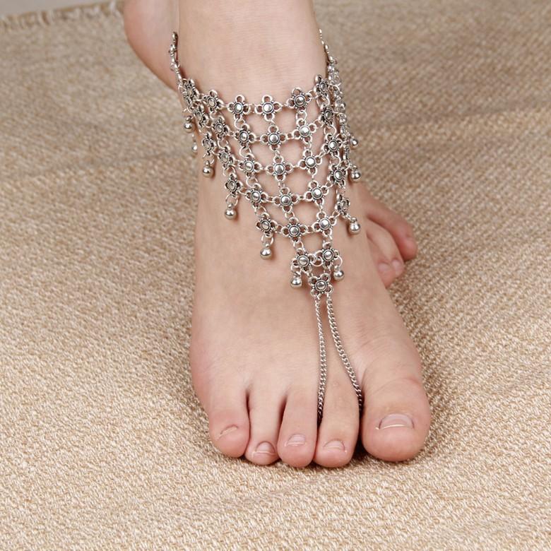 กุหลาบย้อนยุคประดับทิเบตเงิน anklets