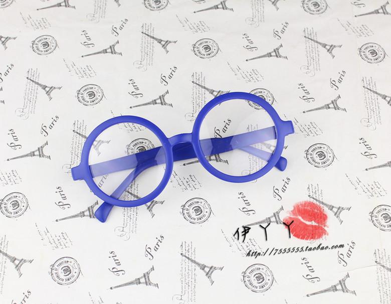 แว่นตาแฟชั่นเกาหลี วงกลมสีน้ำเงิน (พร้อมเลนส์)