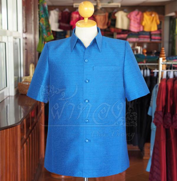 เสื้อสูทไหมผสมฝ้าย สีน้ำเงิน ไซส์ XL