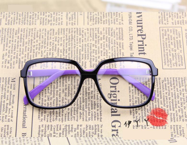 แว่นตาแฟชั่นเกาหลี ดำม่วง (พร้อมเลนส์)