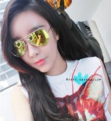 แว่นตากันแดดแฟชั่นเกาหลี กรอบทอง เลนส์ปรอทสีทองเขียว