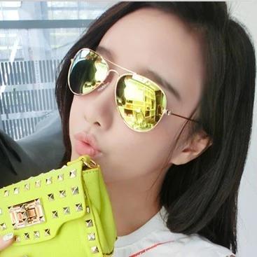 แว่นตากันแดดแฟชั่นเกาหลี กรอบโลหะสีเงินเลนส์ปรอทสีทอง