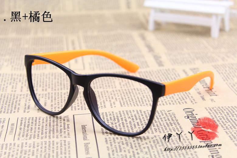 แว่นตาแฟชั่นเกาหลี สีดำส้ม (ไม่มีเลนส์)