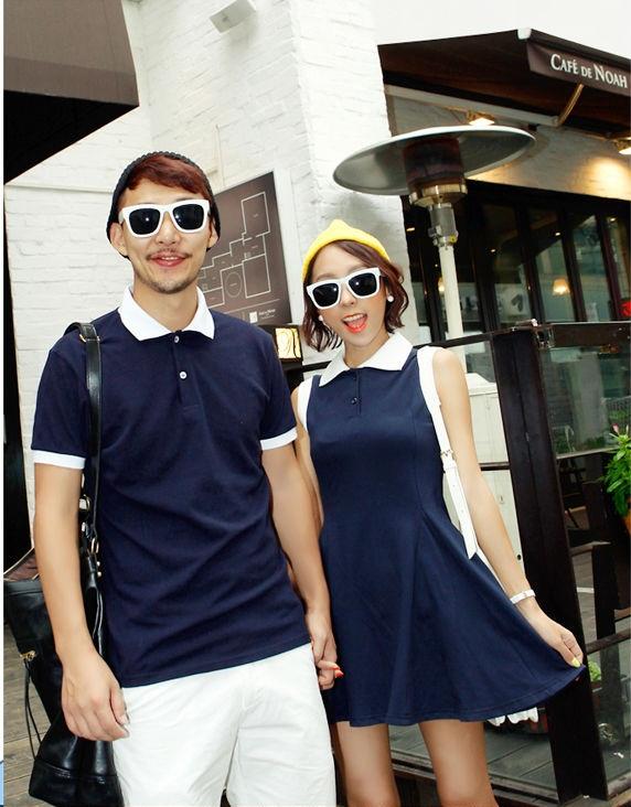 ชุดคู่รักสไตล์เกาหลี หญิงเป็นเดรสแขนกุดสีน้ำเงิน+เสื้อโปโลชาย
