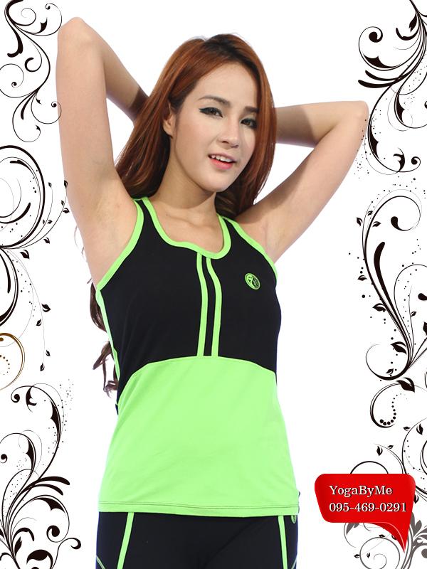 เสื้อกล้ามโยคะเต็มตัว AC703B สีเขียว