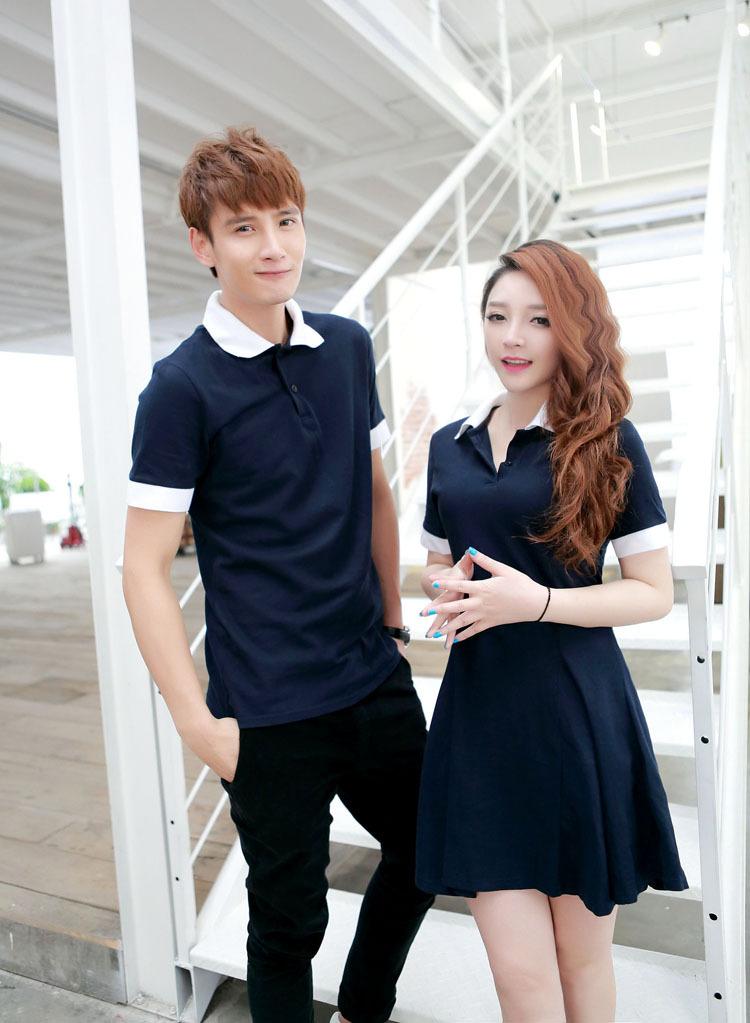 ชุดคู่รักแฟชั่นไสตล์เกาหลี เดรสโปโล+เสื้อโปโลชาย สีน้ำเงินปกขาว เรียบ ๆ น่ารัก ๆ