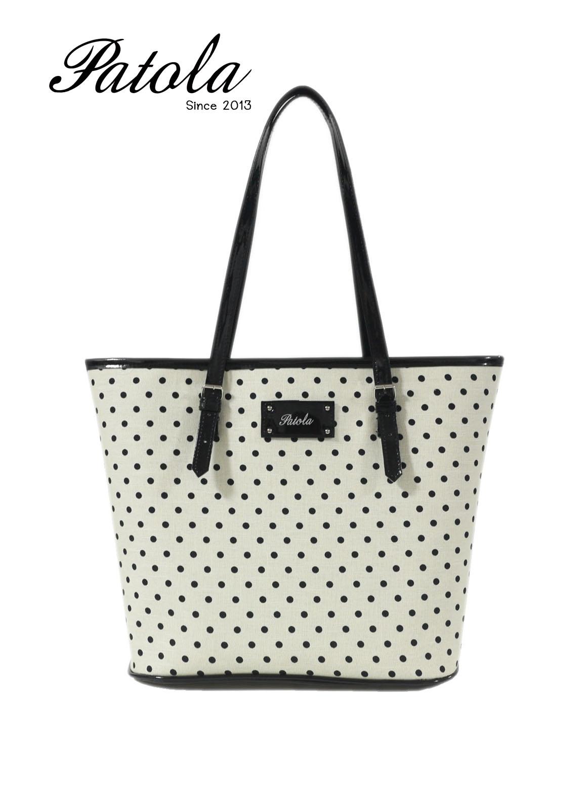กระเป๋า Patola รุ่น KM ขาวจุดดำ