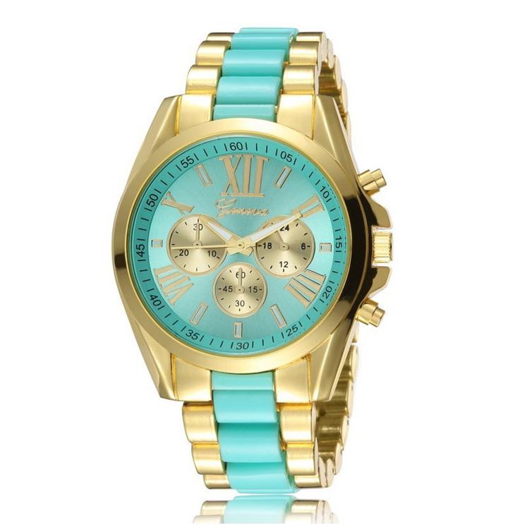 geneva Quartz watches women นาฬิกาผู้หญิง แบรนด์ของฮ่องกง ระบบควอทด์ กันน้ำ กันสนิม สีเขียว