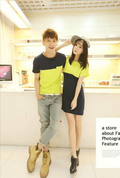 ชุดคู่รักแฟชั่นไสตล์เกาหลี เดรสหญิง+เสื้อยืดชาย สีเหลืองมะนาว+ดำ