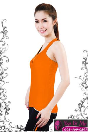 เสื้อโยคะแขนกุด AC702 สีส้ม