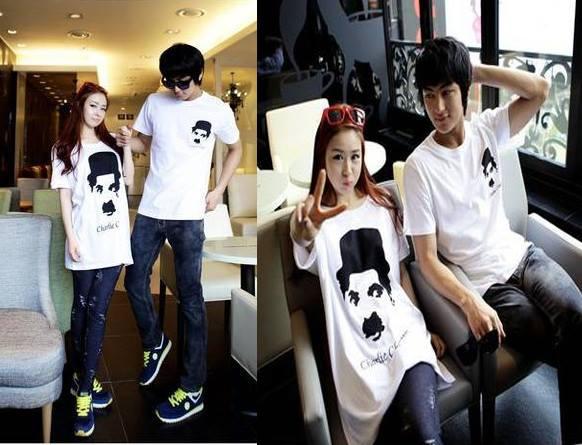 เสื้อยืดคู่สไตล์เกาหลี เสื้อหญิงเป็นทรงค้างคาว สาวไซส์ใหญ่ใส่ได้จ้า