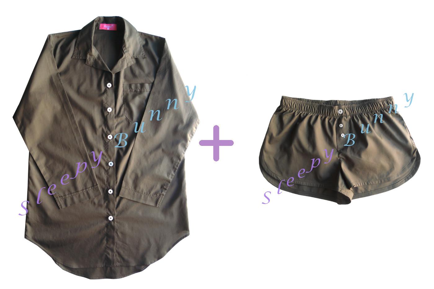Promotion db16 set สีน้ำตาลเขียวขี้ม้า ชุดนอนเดรสเชิ้ต (Size S,M) + boxer (Size S)