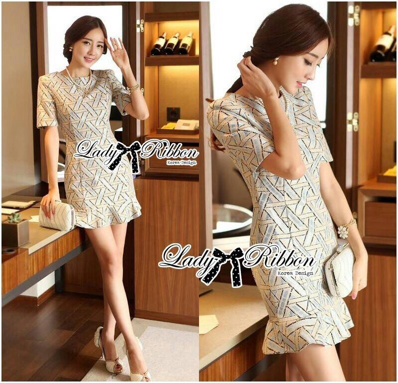 DR-LR-068 Lady Christiane Chic Graphic Brocade Dress