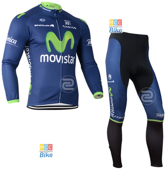 ชุดปั่นจักรยาน เสื้อปั่นจักรยาน และ กางเกงปั่นจักรยาน Movistar ขนาด XL