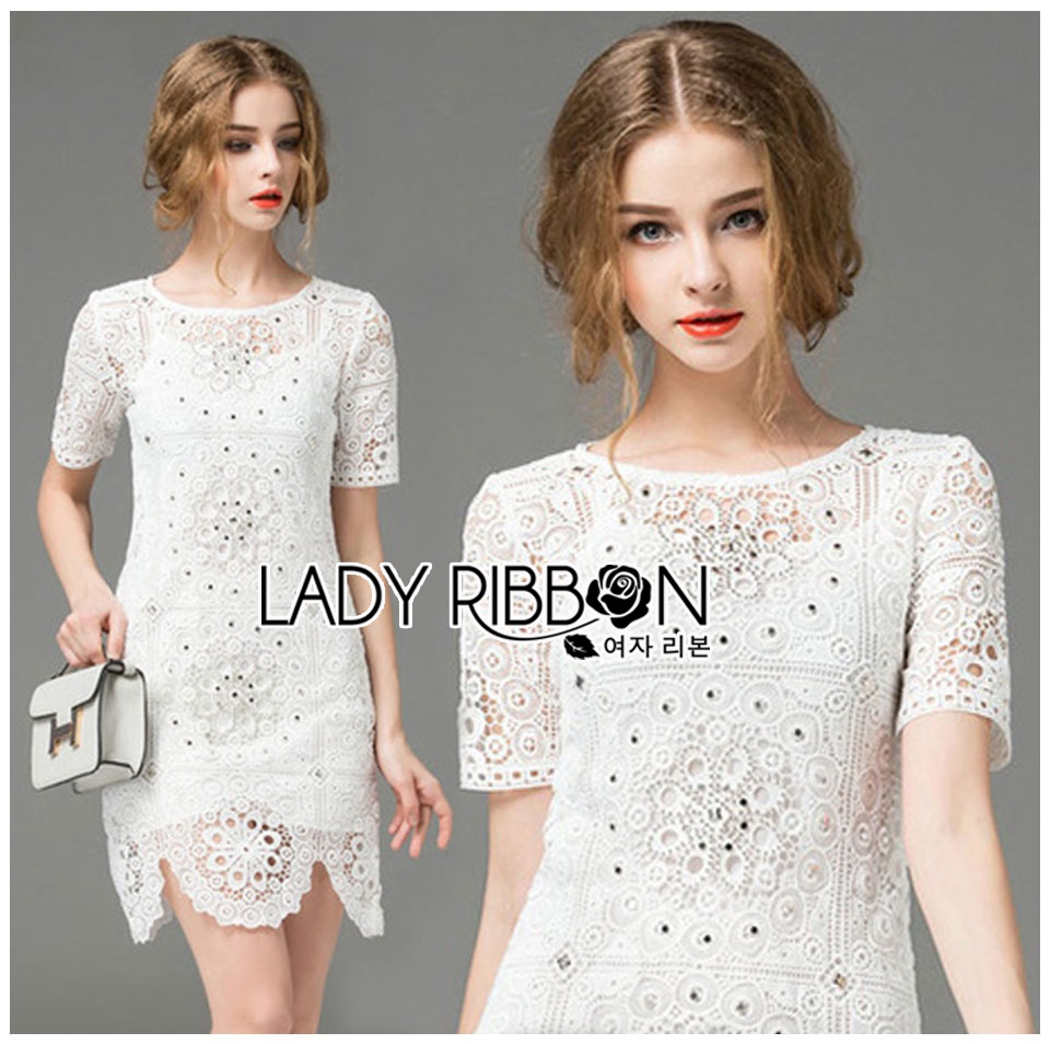 Lady Anna Classy Floral Studded Embellished Lace Dress L234-85C14