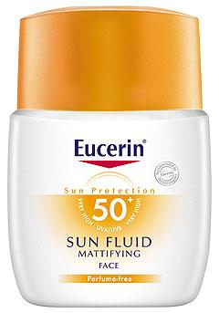 สูตรใหม่ Eucerin Sun Fluid Mattifying Face Dermo-Antipigment SPF 50+ ขนาด 50 ml. สำหรับผิวหน้าไวต่อแดดมาก และผิวหลังทำเลเซอร์ทรีทเมนท์