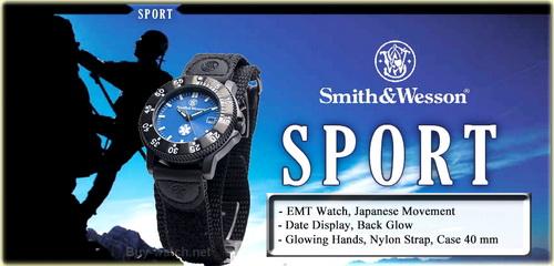 นาฬิกาทหารสไตล์สปอร์ต Smith&Wesson Watch EMT พรายน้ำและไฟ LED backlight จาก Buy-Watch