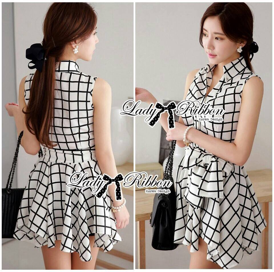 DR-LR-171 Lady Mary Checked Sleeveless Button Down Shirt Dress