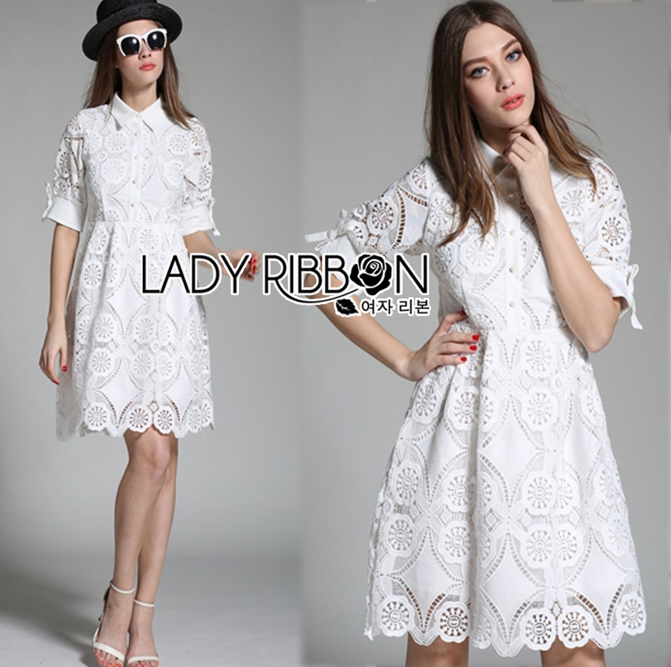 Lady Abigail Casual Lace Cotton Shirt Dress L275-8510